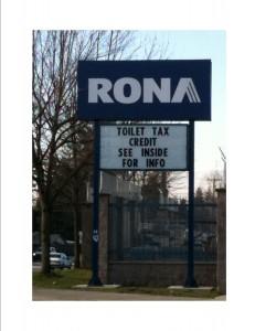 RONA Low-Flow Toilet Sign