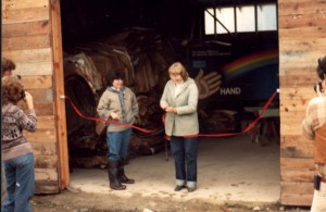 Candace Gordon & Julie Koehn at Opening of RMRS Cardboard Building at Cottonwood Landfill 1981