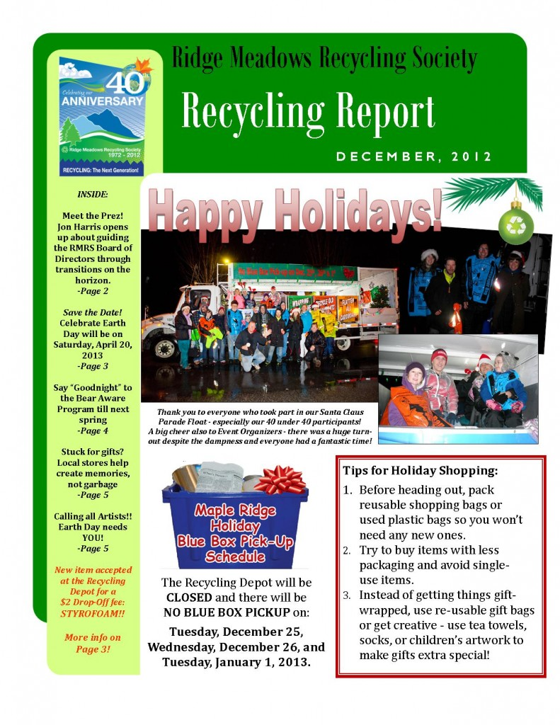 RMRS December, 2012 Newsletter - Page 1