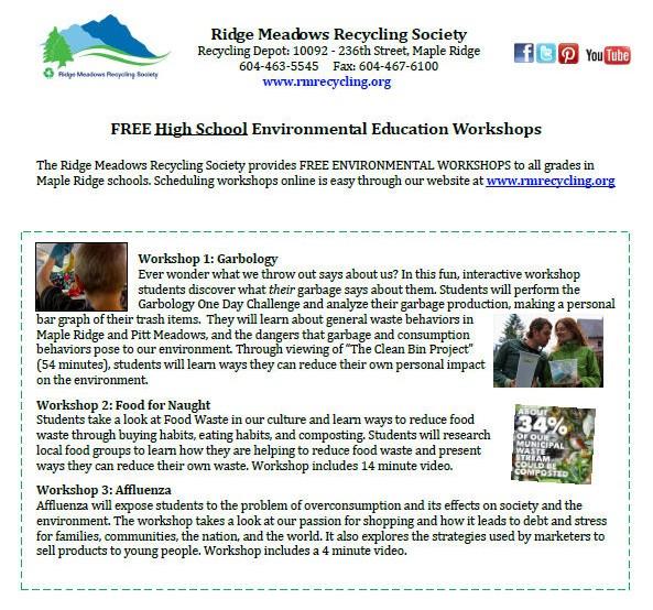 RMRS High School Workshops - no Dan - Jan, 2015