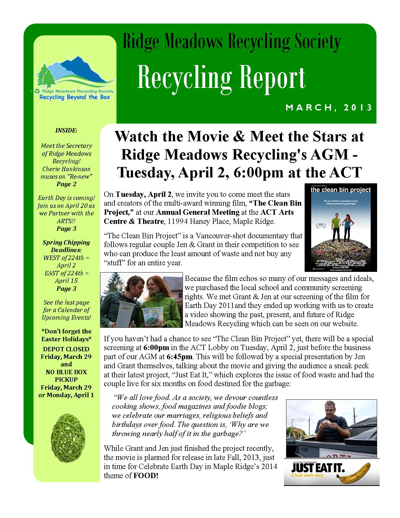 RMRS March, 2013 Newsletter - Page 1