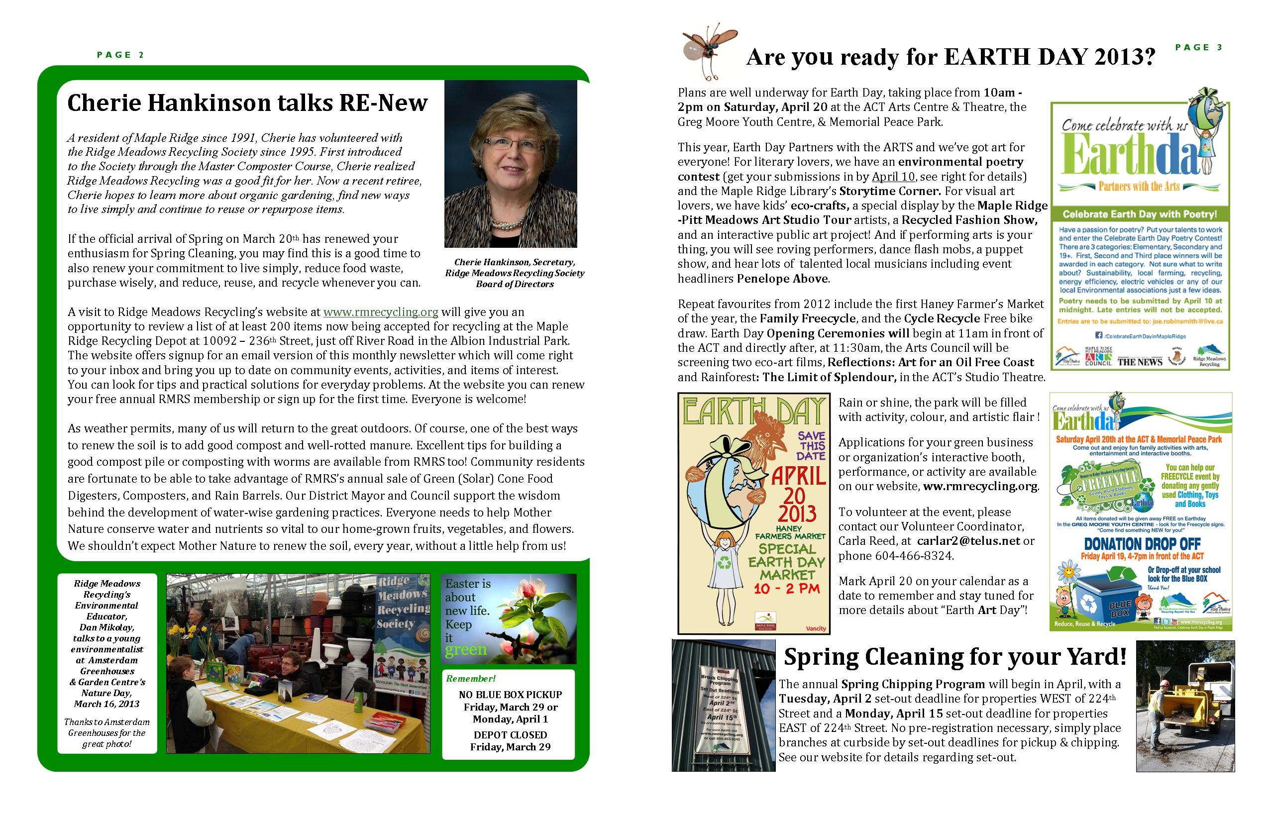 RMRS March, 2013 Newsletter - Pages 2-3